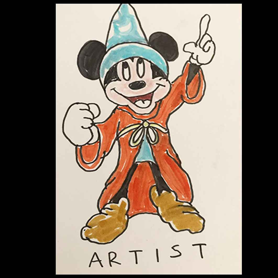 Mickey Mouse as the Artist.