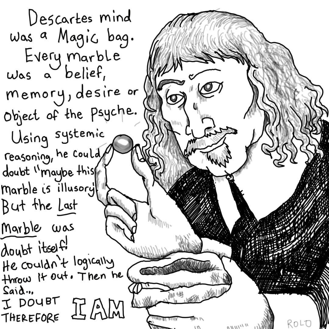 Image of descartes. It's a comic style depicting him pulling marbles out of a bag.